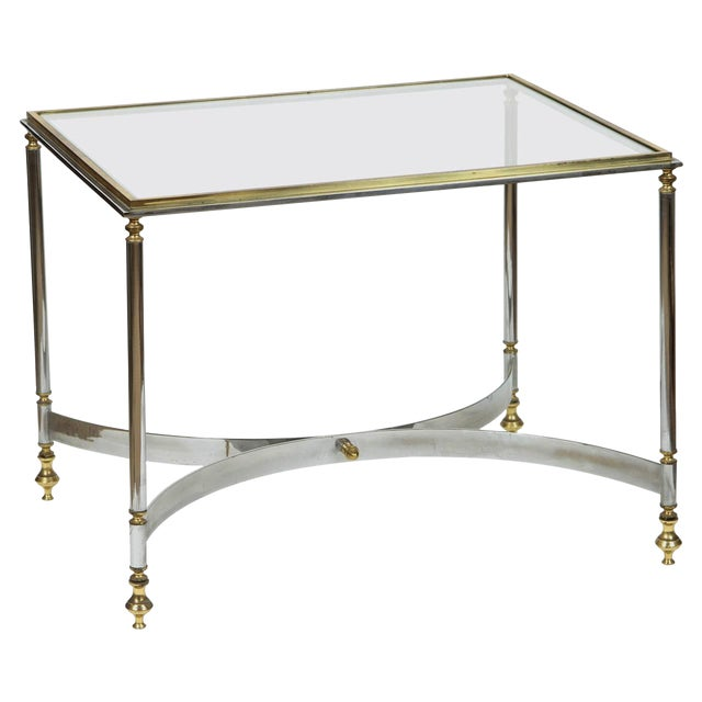 Brass & Chrome Coffee Table For Sale