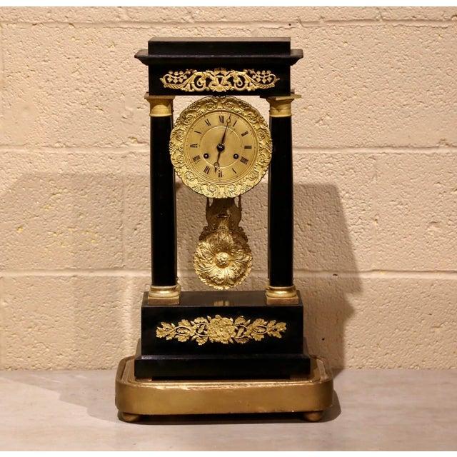 19th Century French Empire Portico Mantel Clock in Original Glass Dome For Sale In Dallas - Image 6 of 12
