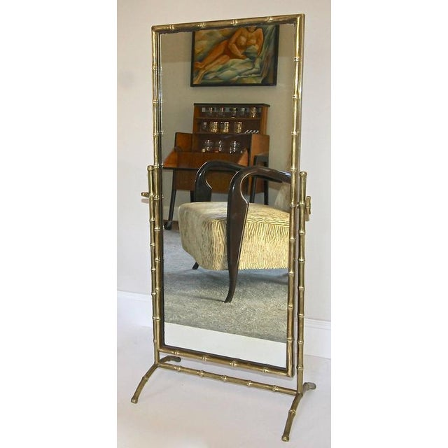 1950s French Bagues Bronze Bamboo Cheval Floor Mirror For Sale - Image 10 of 11