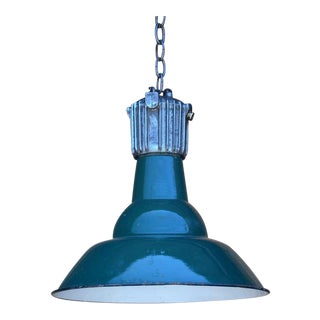 Dark Green French Industrial Workshop Hanging Light For Sale