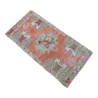 Hand Knotted Door Mat, Entryway Rug, Bath Mat, Kitchen Decor, Small Rug, Turkish Rug - 1′8″ × 3′3″ For Sale