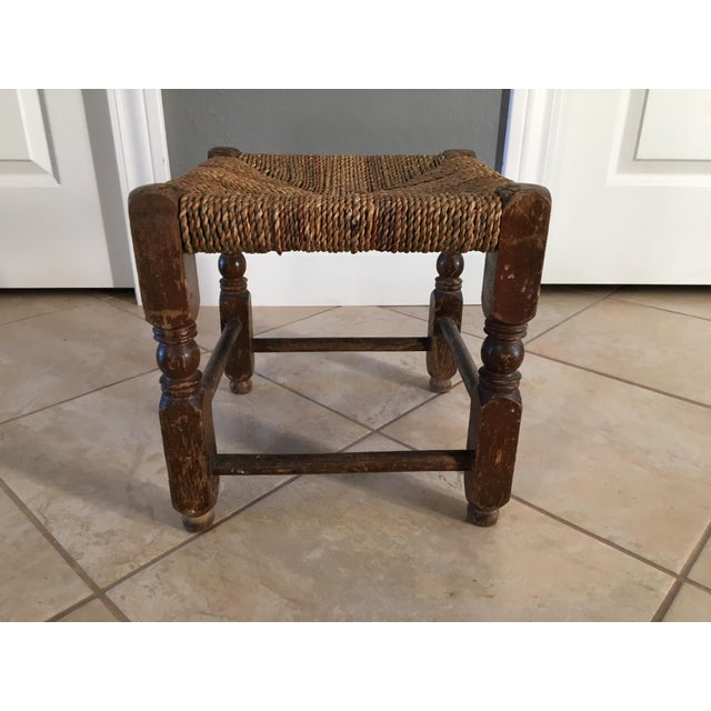 Rustic Rush Woven Small Foot Stool - Image 3 of 6