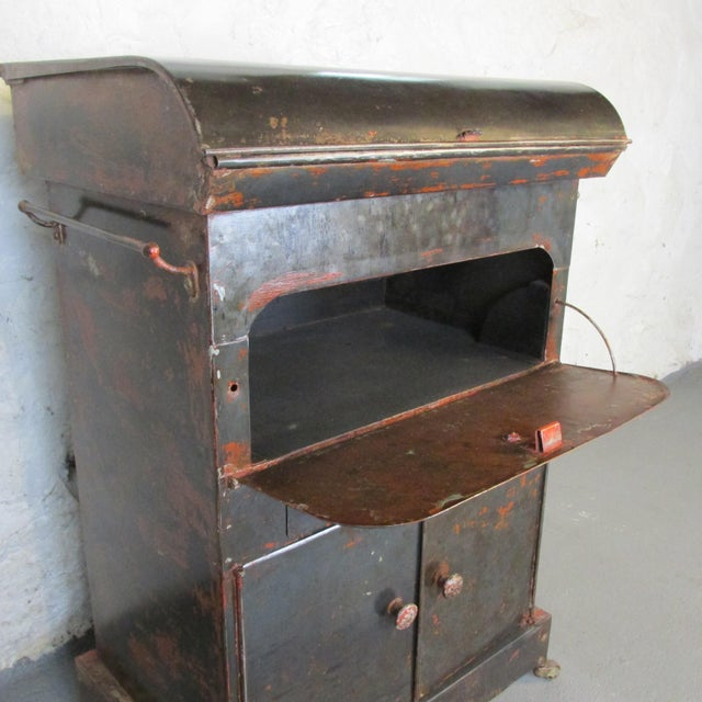 Metal Antique Riveted Steel Campaign Style Vanity and Wash Basin For Sale - Image 7 of 13