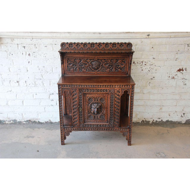 Baroque 19th Century English Ornate Carved Oak Sideboard Bar Cabinet For Sale - Image 3 of 13