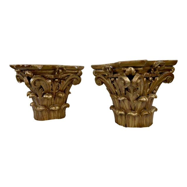 1940s Hand Carved Wood Corinthian Order Capitals - a Pair For Sale