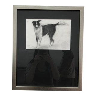 Charcoal Framed Drawing For Sale