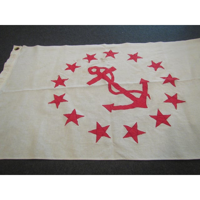 Americana Vintage Rear Commodore Anchor Star Yachting Flag For Sale - Image 3 of 6