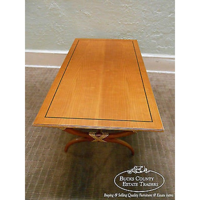 High Quality French Regency Directoire X Base Coffee Table W/ Gilt Accents For Sale - Image 4 of 11