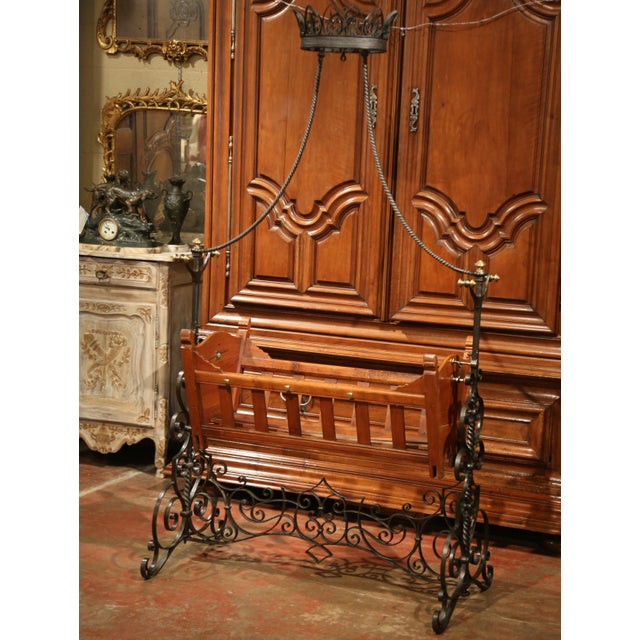19th Century French Napoleon III Walnut and Iron Baby Craddle With Canopy For Sale - Image 4 of 9