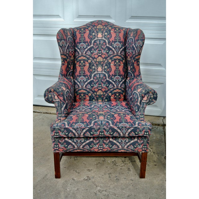 These are large, vintage, Lexington, wingback chairs from the Bob Timberlake collection. The ottomi animal pictorial print...