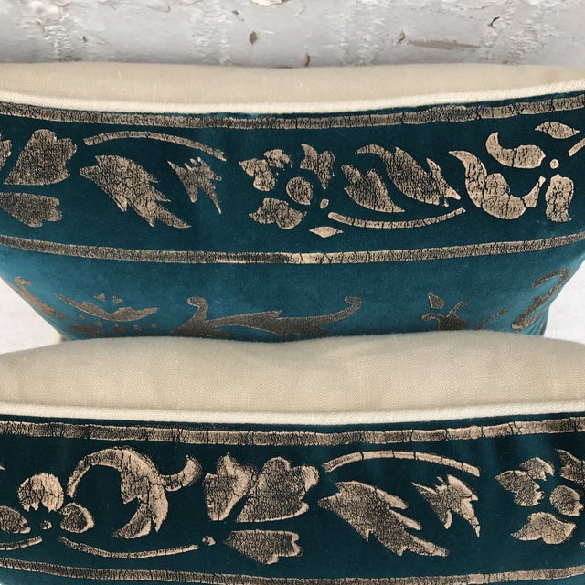 Gold Stenciled Velvet Pillows - A Pair - Image 6 of 7