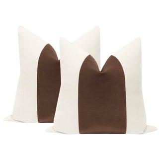 """22"""" Mocha Velvet Panel & Linen Pillows - a Pair For Sale"""
