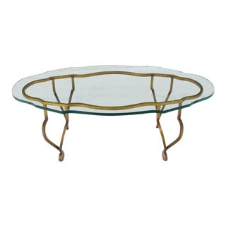 Figural Oval Glass Gold Wrought Iron Base Coffee Table For Sale
