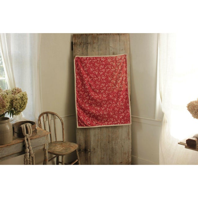 White Antique French Pillement Inspired Red Resist Printed Textile Fabric With Ticking For Sale - Image 8 of 10