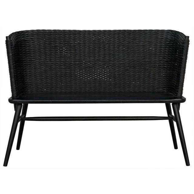 Wood Curba Loveseat, Charcoal Black For Sale - Image 7 of 9