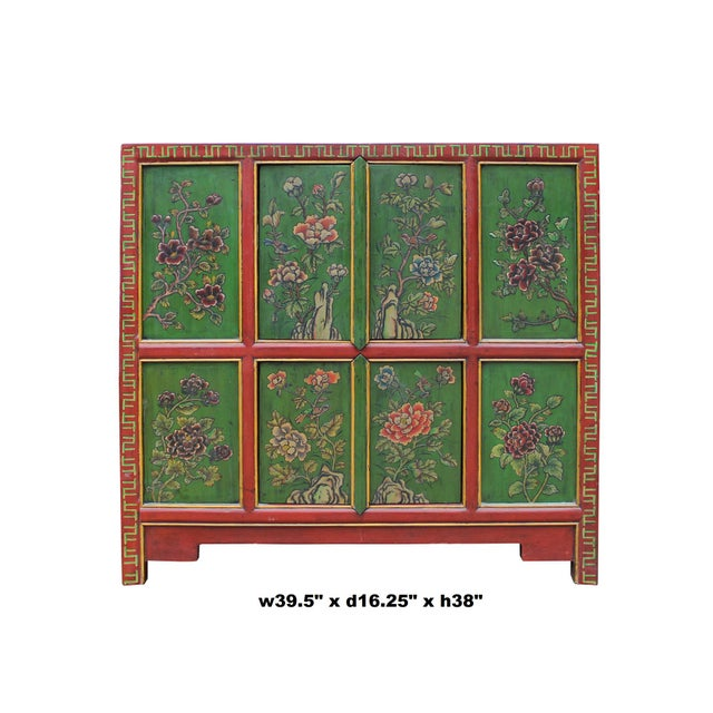 This is a credenza side cabinet with colorful oriental style flower graphic at the front as a decorative accent. ( orange...