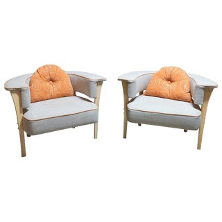 Hastening Design Modern Armchairs- A Pair For Sale
