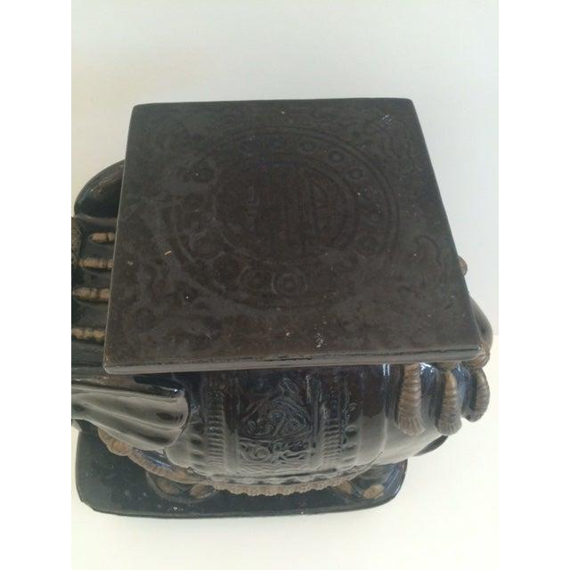 Ceramic Vintage Black Ceramic Garden Stool For Sale - Image 7 of 8