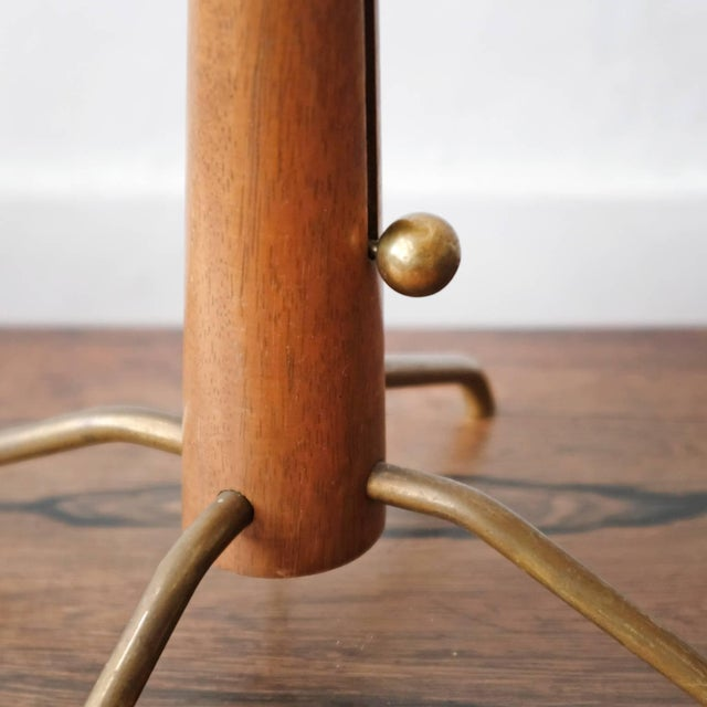 Metal Walnut and Brass Gerald Thurston Adjustable Height Lamps For Sale - Image 7 of 10