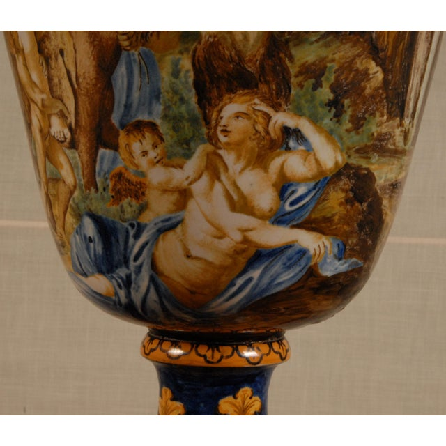 Italian Majolica Serpentine Handle Mythological Vase For Sale - Image 12 of 13