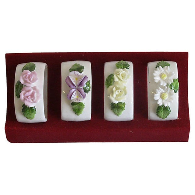 Vintage Bone China Napkin Rings - Set of 4 - Image 1 of 2