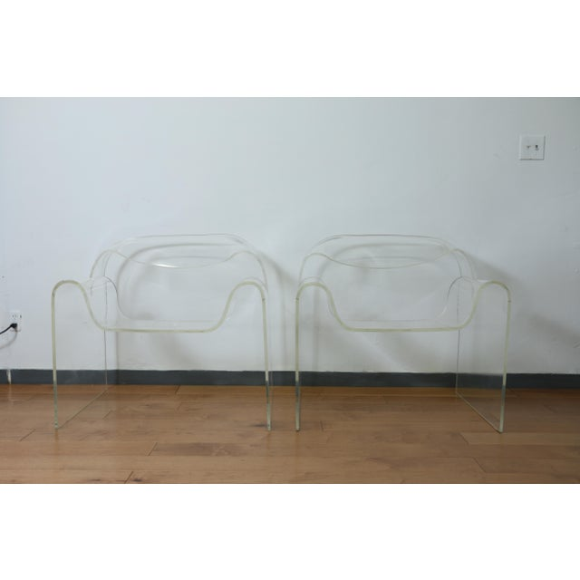 Vintage Pair of Lucite Ribbon Style Lounge Chairs For Sale - Image 13 of 13