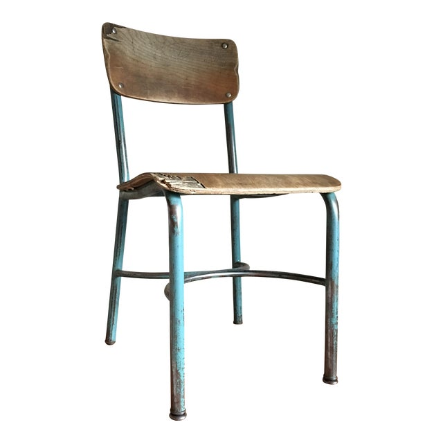 Industrial Vintage Wood & Metal School Chair For Sale