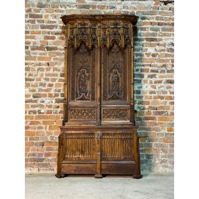 Gothic Gothic Revival Oak Cupboard Heavily Carved, circa 1850 For Sale - Image 3 of 13