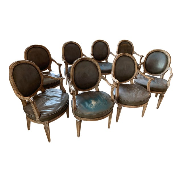Vintage Mid Century Don Rousseau Louis XVI-Style Leather Upholstered Carved Beechwood Fauteuils - Set of 8 For Sale