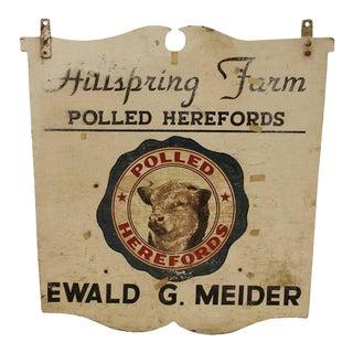 Vintage Wood Bull Hillspring Farm Sign For Sale