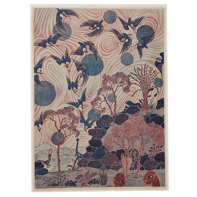 """Jesse Allen (Kenya, B.1936) """"Birds Flocking"""" Original Signed Print For Sale"""