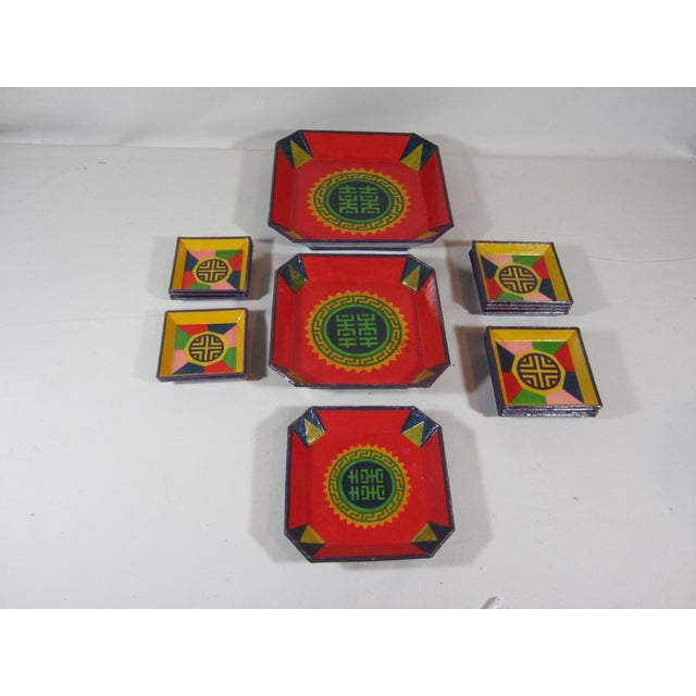 Colorful Lacquered Papier-Mache Snack Set For Sale - Image 4 of 6
