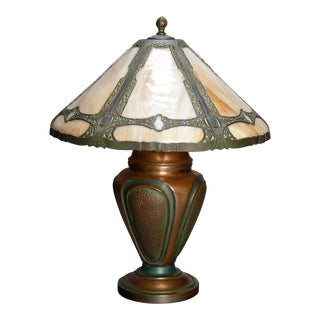 Antique Arts & Crafts Bradley and Hubbard School Slag Glass Lamp For Sale