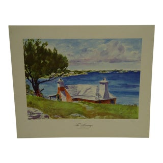"1947 Original Adolph Freidler's Watercolors of Bermuda ""The Moorings - Paget"" Print"