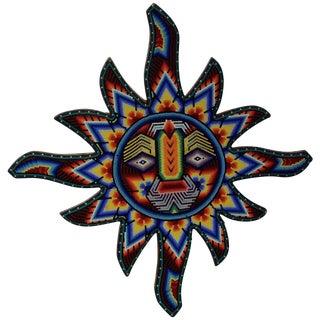 Mexican Huichol Hand Beaded Sun Wall Decor For Sale