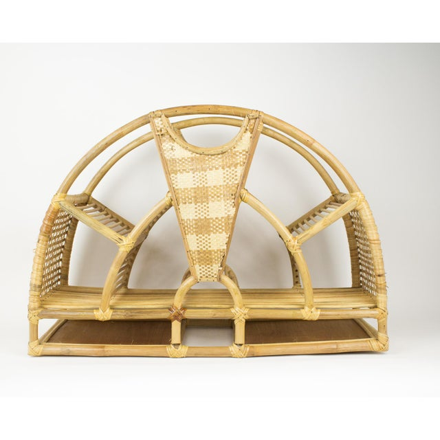 1970s 1970s Bohemian Rattan and Wicker Style Wall Desk Organizer For Sale - Image 5 of 12