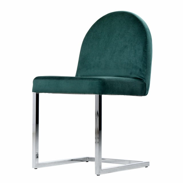 Mid-Century Modern 1970s Forest Green Velvet Milo Baughman Style Cantilever Chrome Dining Chairs For Sale - Image 3 of 7