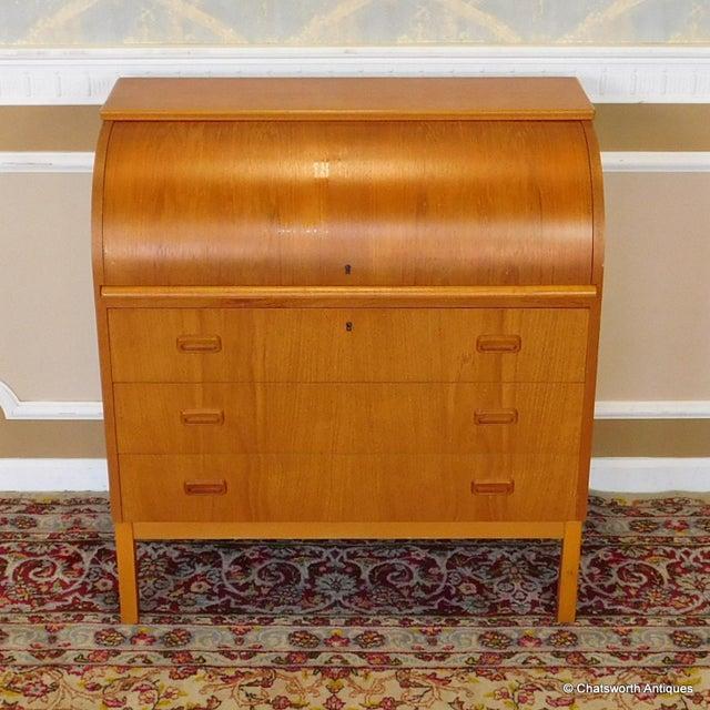 Egon Ostergaard Scandinavian Teak Cylinder Desk For Sale - Image 9 of 9