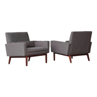 Vintage Custom Order Florence Knoll Walnut Lounge Chairs- A Pair For Sale