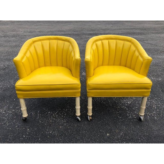 Hollywood Regency 1970s Vintage Yellow Channel Back Vinyl Chairs- A Pair For Sale - Image 3 of 13