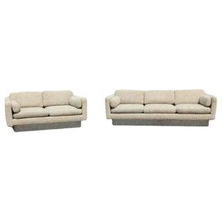 Mid Century Modern Sofa & Loveseat on Chrome Plinth Base by Milo Baughman For Sale