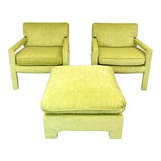 1970s Milo Baughman Parsons Lounge Chairs & Ottoman – Set of 3 For Sale