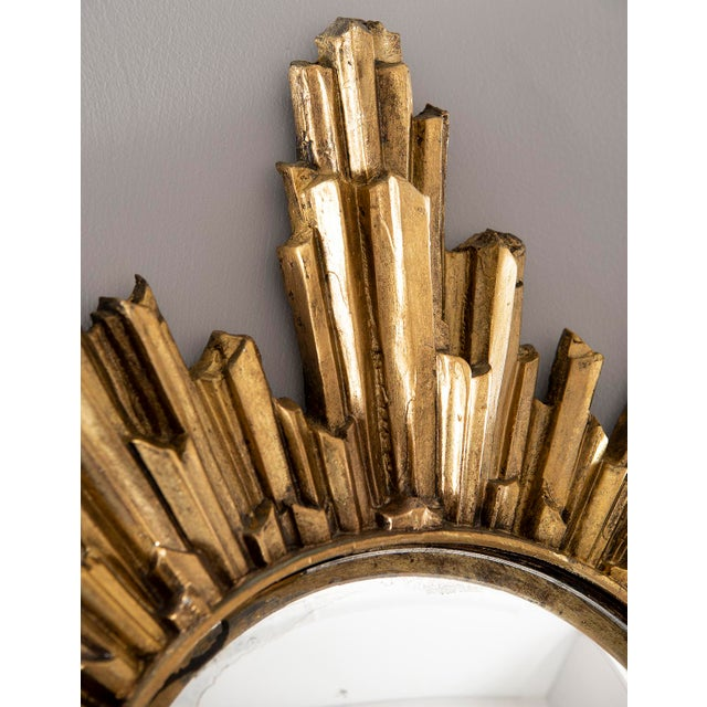 1970s Mid Century Convex Gilded Sunburst Mirror For Sale - Image 5 of 10
