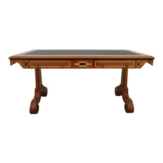 John Widdicomb Burl Maple and Cherry British India Collection Writing Desk For Sale