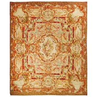 Red & Ivory Aubusson French Rug - 12′6″ × 14′4″ For Sale