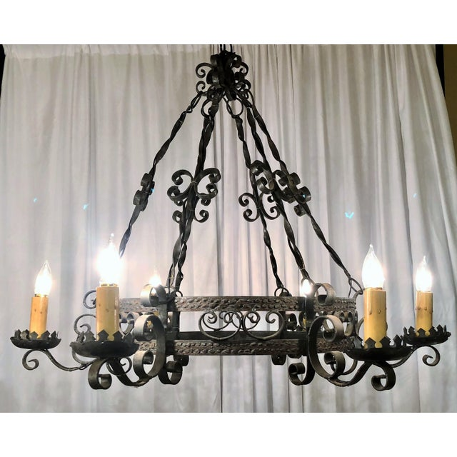 Gothic Antique Late 19th Century Wrought Iron 6 Light Fixture For Sale - Image 3 of 3