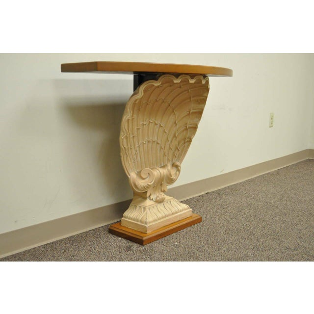 Hollywood Regency 1940s Hollywood Regency Plaster Shell Form Console Hall Table For Sale - Image 3 of 11