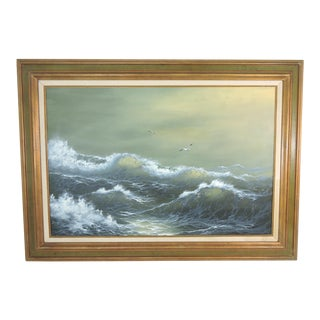 Vintage Nautical Painting, Oil on Canvas Seascape of Atlantic Waves & Sea Gulls For Sale