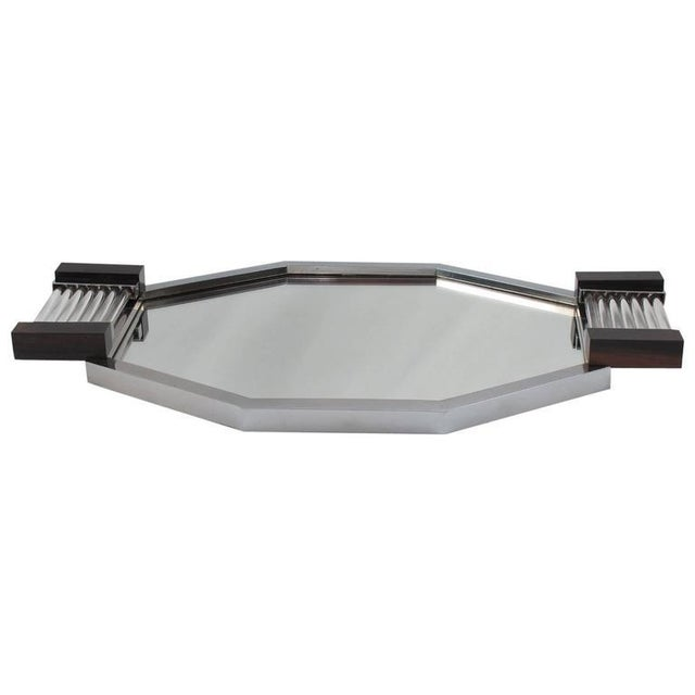 French Art Deco Serving Tray in Chrome, Glass, Macassar Wood and Mirrored Glass For Sale - Image 9 of 9
