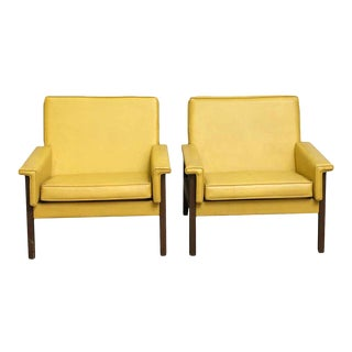 Vintage Mid Century Yellow Chairs- A Pair For Sale
